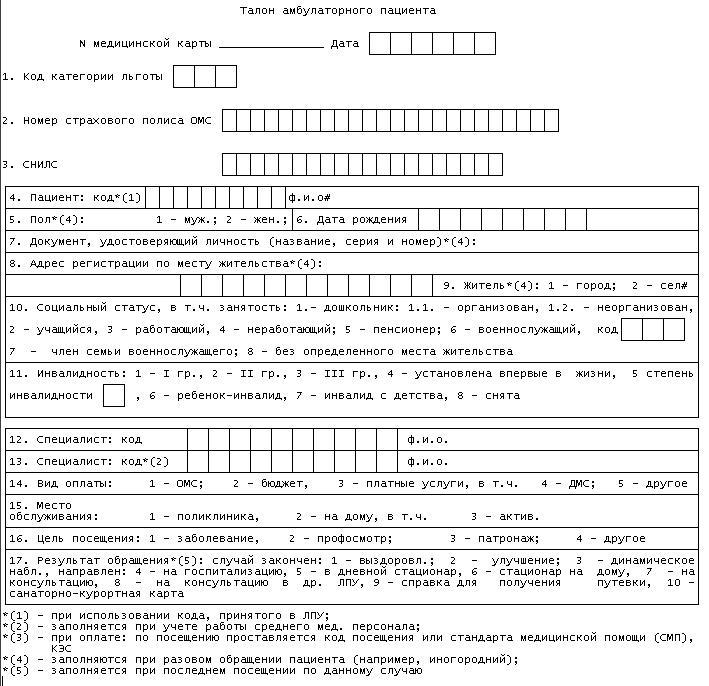 бланк талона амбулаторного пациента форма 025 10 у 97 спб онлайн